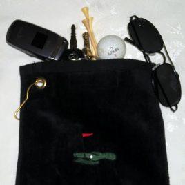 Golf Towel with Pocket Black